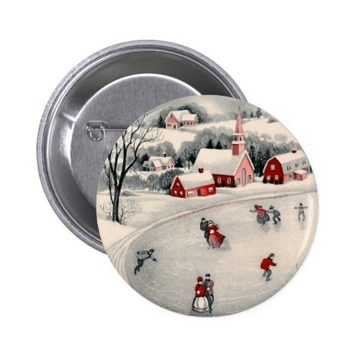 Vintage Christmas, Ice Skating Skaters Frozen Pond Button