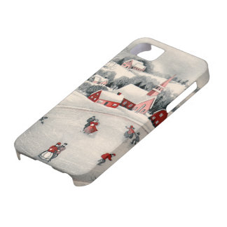 Vintage Christmas Ice Skating Skaters Frozen Pond iPhone 5 Cases