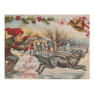 Vintage Christmas Ice-Skating With The Dog Postcard