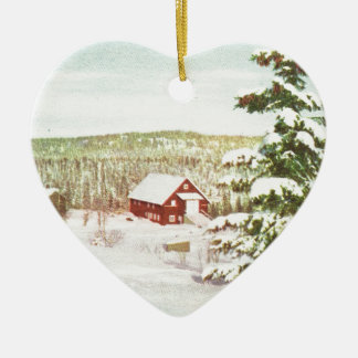 Vintage Christmas in Norway, 1950 Ceramic Heart Ornament