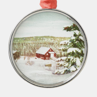 Vintage Christmas in Norway, 1950 Silver-Colored Round Ornament