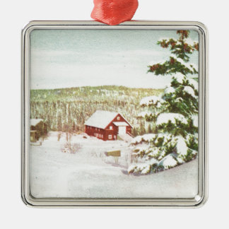 Vintage Christmas in Norway, 1950 Silver-Colored Square Ornament