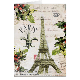 Vintage Christmas in Paris notecard