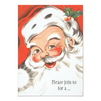 Vintage Christmas, Jolly Santa Claus Invitation