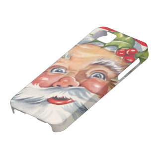 Vintage Christmas, Jolly Santa Claus with His Hat iPhone 5 Case