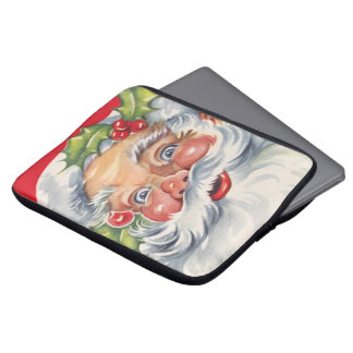 Vintage Christmas, Jolly Santa Claus with His Hat Laptop Sleeves