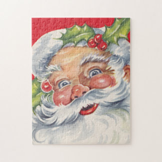 Vintage Christmas, Jolly Santa Claus with His Hat Puzzles