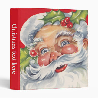 Vintage Christmas, Jolly Santa Claus with His Hat Vinyl Binder