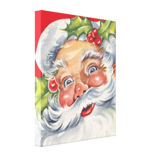 Vintage Christmas, Jolly Santa Claus with Holly Canvas Print