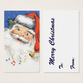 Vintage Christmas, Jolly Santa Claus with Music Business Card
