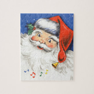 Vintage Christmas, Jolly Santa Claus with Music Jigsaw Puzzle