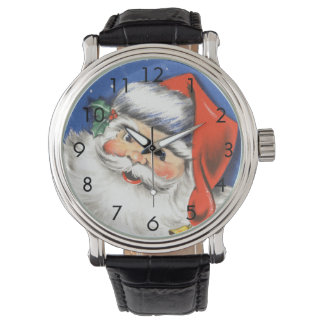 Vintage Christmas, Jolly Santa Claus with Music Watch