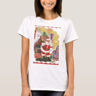 Vintage Christmas, Jolly Santa Claus with Presents T-Shirt