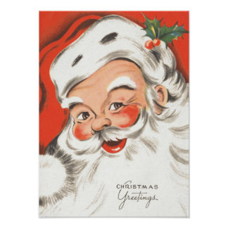 Vintage Christmas, Jolly Santa Claus with Smile Poster