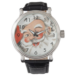 Vintage Christmas, Jolly Santa Claus with Smile Watch