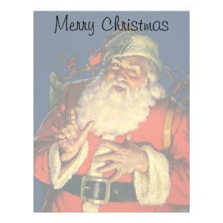 Vintage Christmas, Jolly Santa Claus with Toys Custom Letterhead