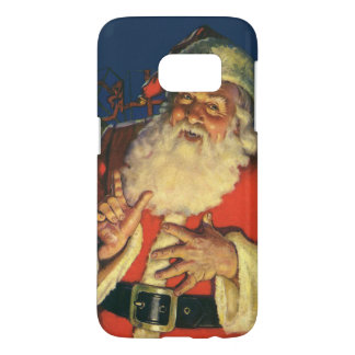 Vintage Christmas, Jolly Santa Claus with Toys Samsung Galaxy S7 Case