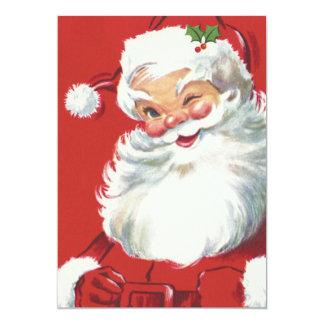 "Vintage Christmas, Jolly Winking Santa Claus 5"" X 7"" Invitation Card"