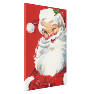 Vintage Christmas, Jolly Winking Santa Claus Stretched Canvas Print