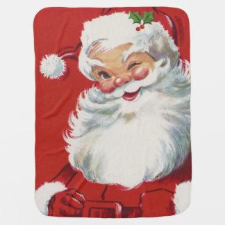 Vintage Christmas, Jolly Winking Santa Claus Baby Blankets
