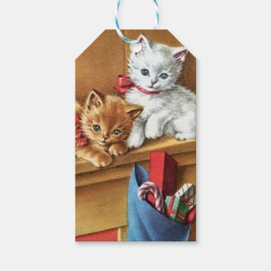 Vintage Christmas Kitties On Mantle Gift Tags
