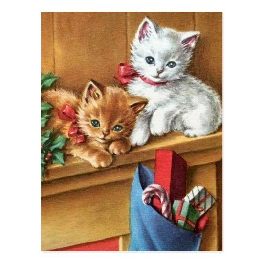Vintage Christmas Kitties On Mantle Postcard
