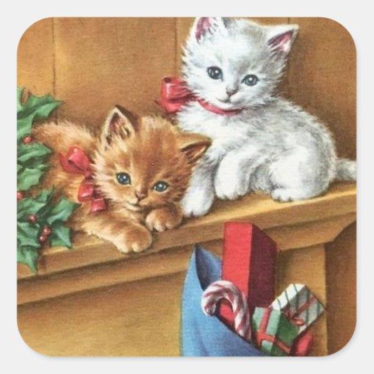 Vintage Christmas Kitties On Mantle Square Sticker