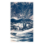 Vintage Christmas Landscape, Snow Trees Mountains Business Card
