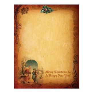Vintage Christmas Letter Paper Letterhead Template