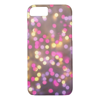 Vintage Christmas Lights Background. Pink & Yellow iPhone 8/7 Case