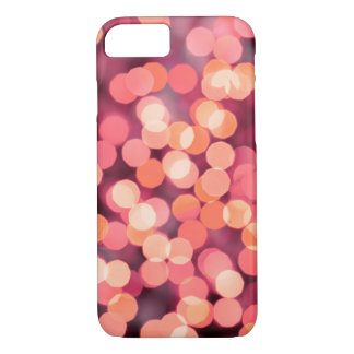 Vintage Christmas Lights Background. Red & Pink iPhone 8/7 Case