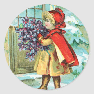 Vintage Christmas Little Girl & Violets Classic Round Sticker
