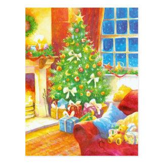 Vintage Christmas Living Room Postcard