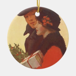 Vintage Christmas, Love and Romance Gift Shopping Ceramic Ornament