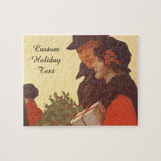 Vintage Christmas, Love and Romance Gift Shopping Jigsaw Puzzle