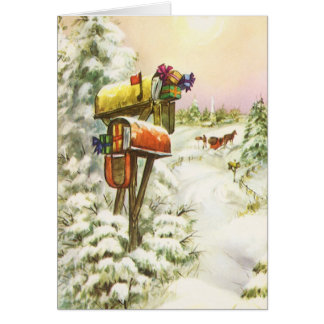 Vintage Christmas, Mailboxes in Winter Landscape Card