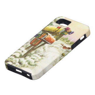 Vintage Christmas, Mailboxes in Winter Landscape iPhone 5 Cover