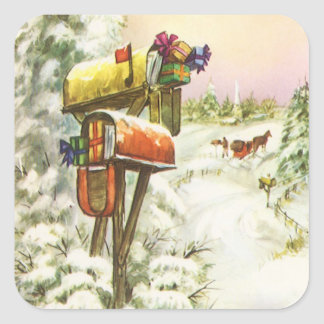 Vintage Christmas, Mailboxes in Winter Landscape Square Sticker