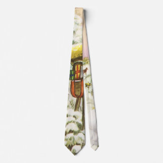 Vintage Christmas, Mailboxes in Winter Landscape Tie