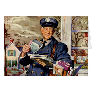 Vintage Christmas, Mailman Delivering Mail Letters Card