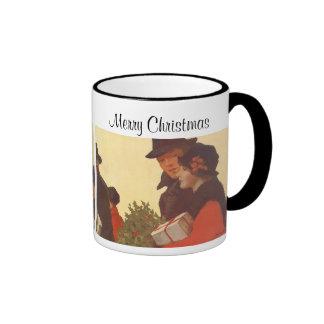 Vintage Christmas Man and Woman Shopping Mugs