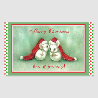 Vintage Christmas Mice with Red Santa Hats Sticker