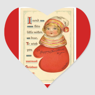 Vintage Christmas Mitten Girl Heart Stickers