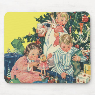 Vintage Christmas Morning, Children Opening Gifts Mouse Pad
