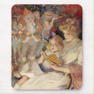 Vintage Christmas, Mother Reading Bedtime Story Mouse Pad