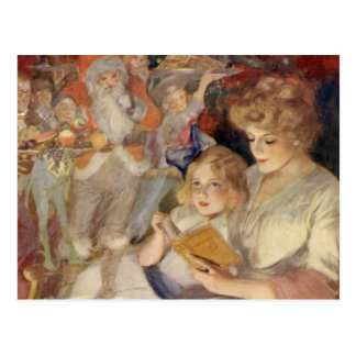 Vintage Christmas, Mother Reading Bedtime Story Postcard