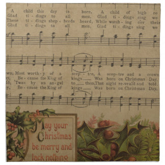 Vintage Christmas Music Sheet Holiday Napkin
