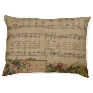 Vintage Christmas Music Sheet Holiday Pet Bed