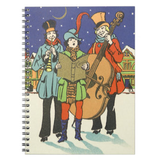 Vintage Christmas Musicians Caroling Spiral Note Books