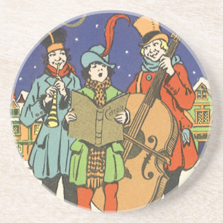 Vintage Christmas, Musicians Caroling with Music Beverage Coasters